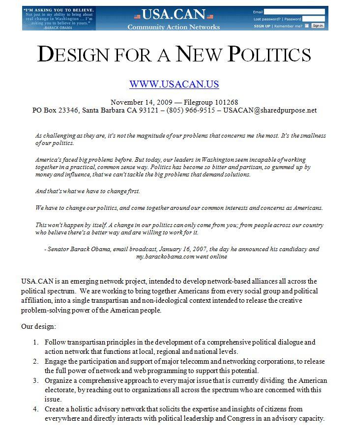 Design for a New Politics