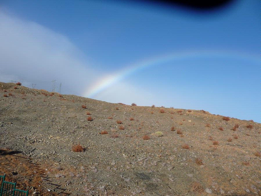 6 - 102229 - Rainbow after late fall rain in the desert -